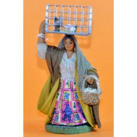 Donna gabbia ferro e cesto